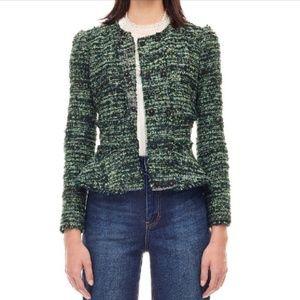 Rebecca Taylor Textured Tweed Green Frayed Jacket